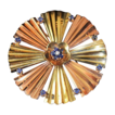 Sapphire Diamond 14kt Rose Yellow Gold Pendant Brooch