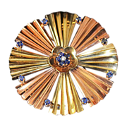 SALE Sapphire Diamond 14kt Rose Yellow Gold Pendant Brooch