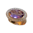 Ladies 14kt Gold Oval Amethyst & Diamond Ring