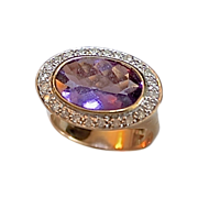 REDUCED Ladies 14kt Gold Oval Amethyst & Diamond Ring