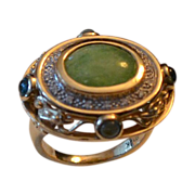 SALE Estate 14k Gold Jadeite, Diamond & Gemstone Ring