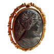 Vintage Classical Black Lava Carved Cameo Brooch