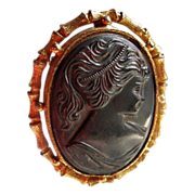SALE Vintage Classical Black Lava Carved Cameo Brooch