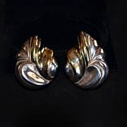 REDUCED Sterling Silver & 10kt Gold Plate Modernist Floral Spray Earrings