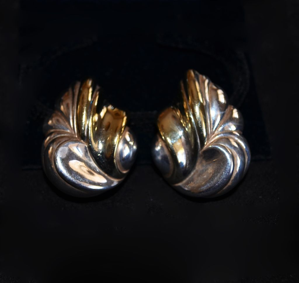 Sterling Silver & 10kt Gold Plate Modernist Floral Spray Earrings