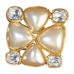 Vintage Change Bold Quatrefoil Shaped Crystal & Faux Pearl Brooch