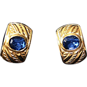 REDUCED Vintage Christian DIOR Gold Tone Blue Sapphire Glass Earrings