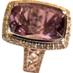 Modernist Ladies 14kt Gold Amethyst Diamond Fashion Ring