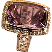 REDUCED Modernist Ladies 14kt Gold Amethyst Diamond Fashion Ring