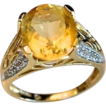 Beautiful 4 Carat Citrine Ring Diamond Accent 14K Gold Ring