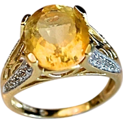 REDUCED Beautiful 4 Carat Citrine Ring Diamond Accent 14K Gold Ring