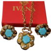Ivana Trump Gold Plate floral Pendant Matching Earrings