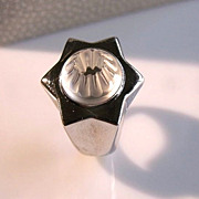 SALE Lalique Crystal Oceania Sterling Star Modernist Ring