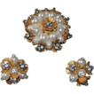 SCHIAPARELLI  Floral Cluster Imitation Pearl & Rhinestone Cluster Pendant & Earrings