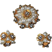 REDUCED SCHIAPARELLI  Floral Cluster Imitation Pearl & Rhinestone Cluster Pendant & Earrings