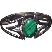 SALE Taxco Malachite Sterling .950  Silver Clamper Bracelet