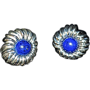 Tiffany & Co Sterling Lapis Chrysanthemum Earrings