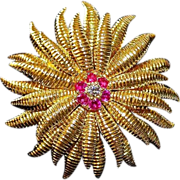 Tiffany & Co 18Kt Floral Marigold Brooch Center Diamonds & Rubies