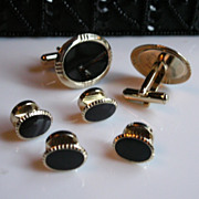 REDUCED Black Tie Affair: Black & Gold Tone Cuff Links & Stud Set