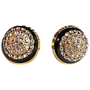 COUTURE SALE: Valentino 10kt Gold Plate Black & Crystal Cluster Earrings