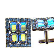 Bright blue large rhinestone cuff links