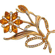 1940's Gold Wash over White Metal rhinestone Brooch