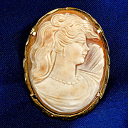 Larger oval thin shell Cameo beautifully carved Gold filled over Sterling Silver