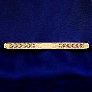 "Signed ""Hayward"" etched gold tone bar pin safety pin clasp"