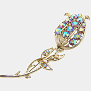 Lovely signed Coro long tulip shaped AB rhinestone brooch