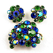 Beautiful 1960's-1970's rhinestone brooch & earrings set blue/green stones