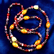 Beautiful Art Glass, carved bone Tulips, mottled brown glass beads 36 inch necklace