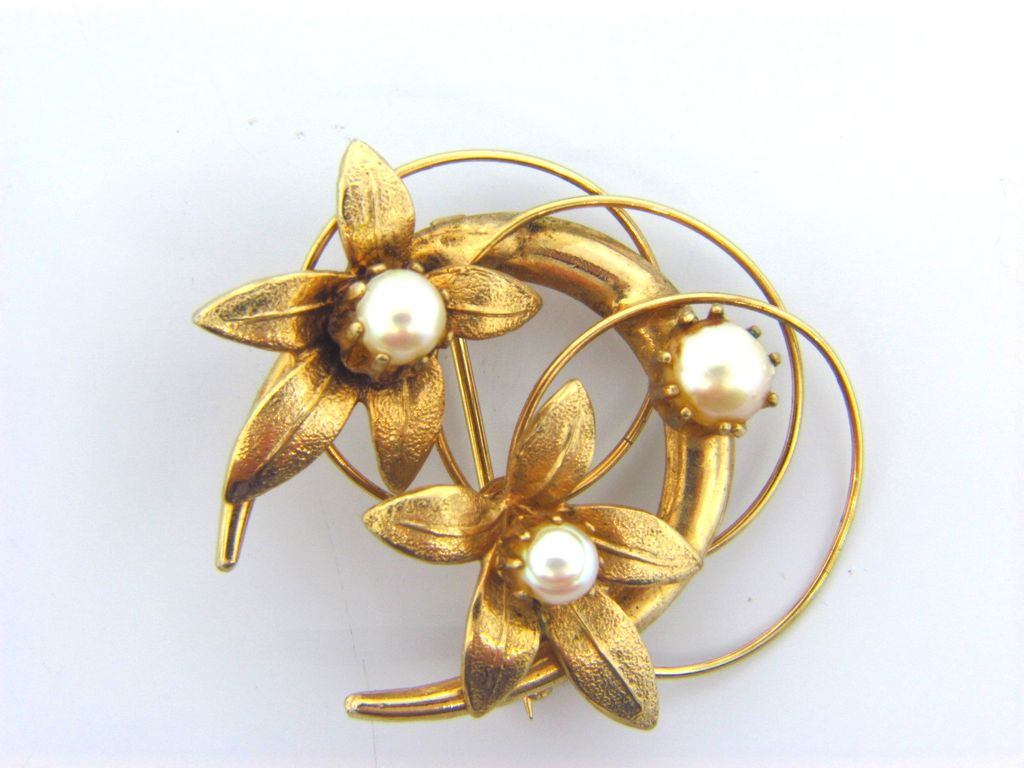Crescent moon gold filled floral brooch with cultured pearls