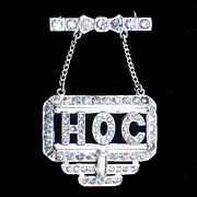 Art Deco White Metal 2 piece &quot;HOC&quot; initialed brooch 1940's crystal rhinestones