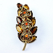 Beautiful rhinestone leaf brooch Topaz brown & orange rhinestones