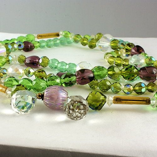 Beautiful long single strand crystal bead necklace colors of green, purple & clear