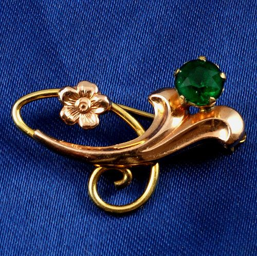 "Designer signed ""Van Dell"" 1/2 20 12k Gold filled floral scatter pin rhinestone"
