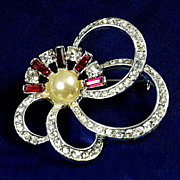 Gorgeous abstract brooch bright crystal bezel set rhinestone red baguette accents