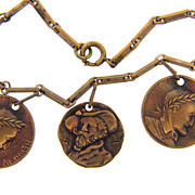 Early  gold tone coin bracelet