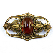 Fabulous unique early gold tone brooch center Amber glass stone