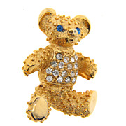 Cute gold tone teddy bear brooch