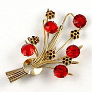 "Signed ""Sterling"" Vermeil 1940's bouquet floral brooch red rhinestones"