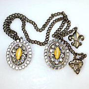 Very nice Chatelaine double heavy chain with dual brooches silver tone