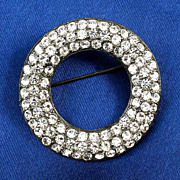 "Designer signed ""Weiss"" circular brooch open center silver tone heavy patina"