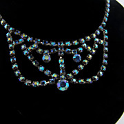 Bright sparkling blue AB festoon rhinestone necklace