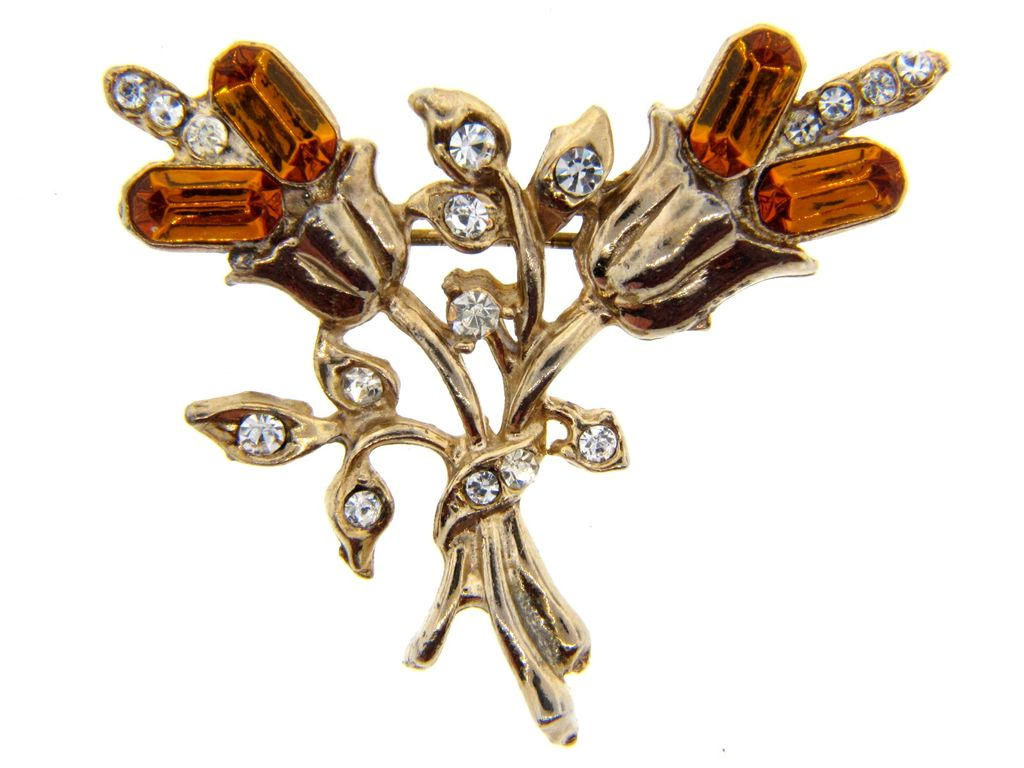 Vintage gold tone floral brooch with amber and colorless rhinestones