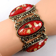 Wide chunky lattice bracelet long raised cabochon red with glitter & shell