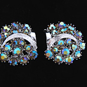 Signed ART vintage AB rhinestone earrings