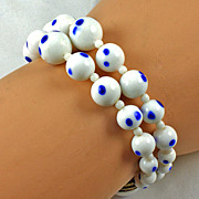 Nice looking white or milk glass  double stand bead bracelet Sterling Silver clasp
