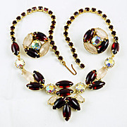 Beautiful rhinestone choker necklace & ear clips poured glass Red AB & Frosted stones