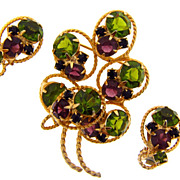 Bright gold tone rhinestone floral set